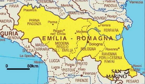 La nuova cartina delle Province dell'Emilia Romagna