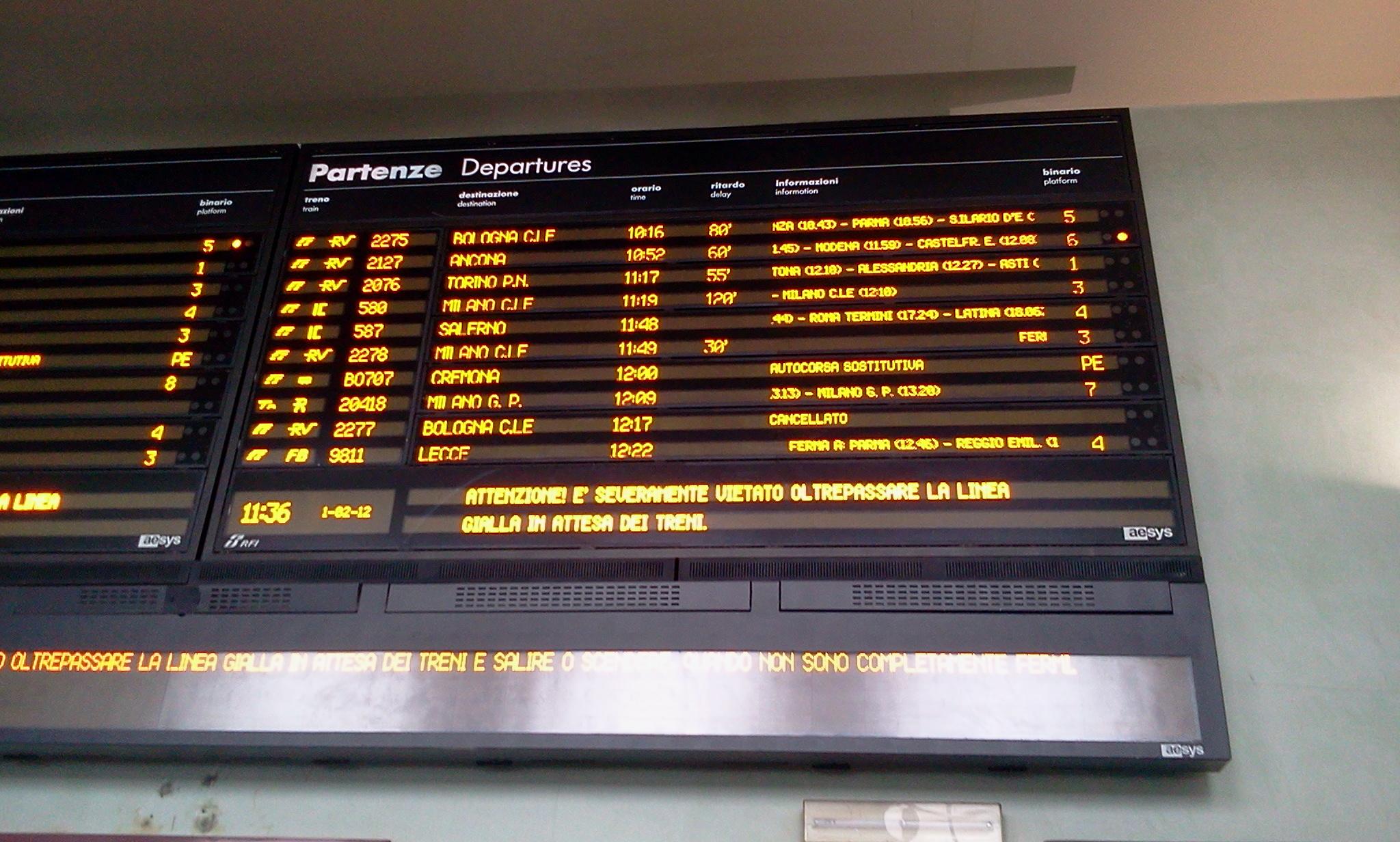 Trasporti, scuola e sanità: oggi sciopero, due treni soppressi e due in ritardo