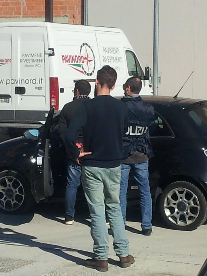 La polizia intervenuta ad Alseno per bloccare uno dei presunti truffatori