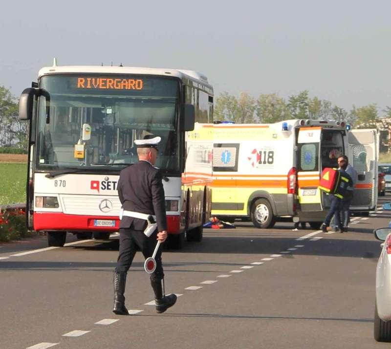 incidente ciclista a Rivergaro