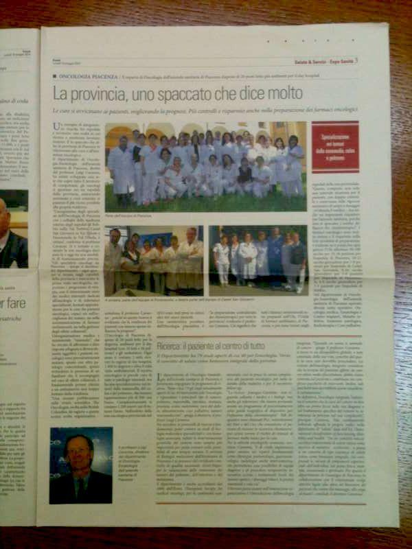 Pagina del Sole 34 Ore dedicata a Oncologia Piacenza