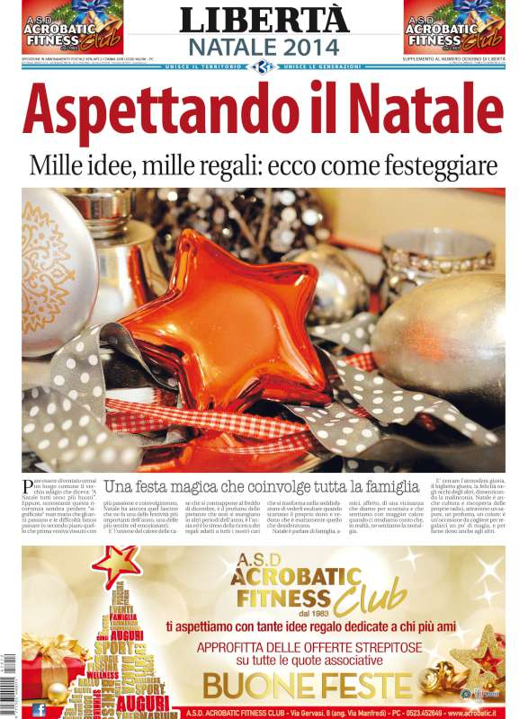 Vigilia di Natale con Libertà: domani in edicola edizione doppia