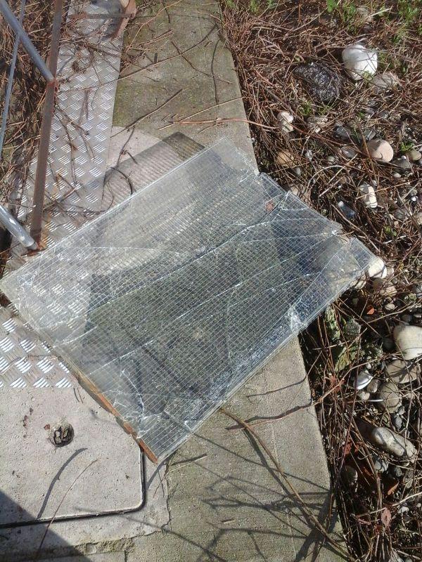 Il vetro del capannone infranto dai ladri a Gazzola