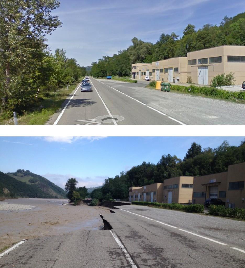La provinciale a Recesio, prima e dopo l'alluvione