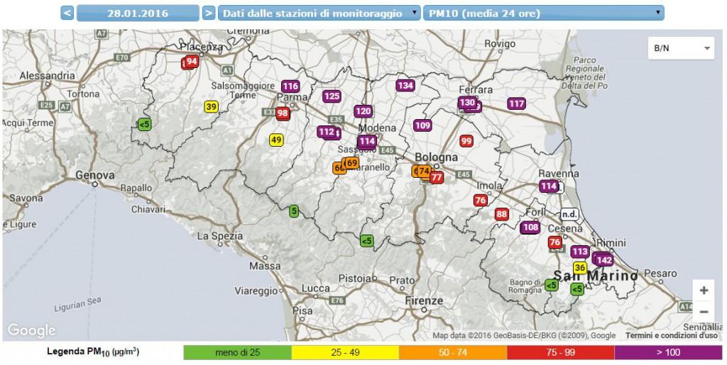 I livelli Pm10 registrati ieri in Regione