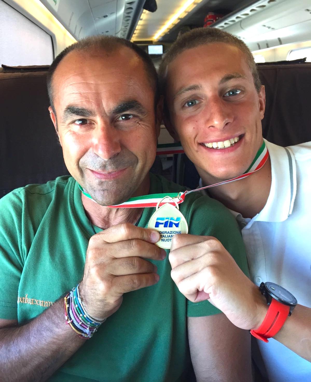 Giacomo Carini, a destra, con l'allenatore Gianni Ponzanibbio