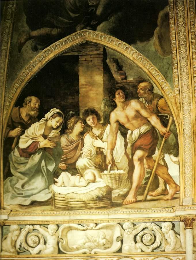 L'adorazione dei pastori, affresco di Giovanni Francesco Barbieri, detto il Guercino. Duomo di Piacenza