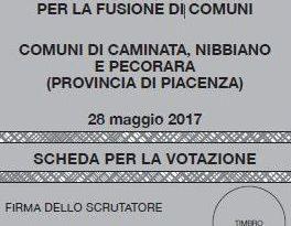 Fusione: domenica 28 referendum a Caminata, Nibbiano e Pecorara