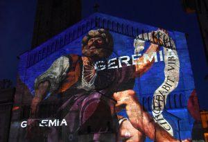 La fotogallery del videomapping dedicato al Guercino in piazza Duomo