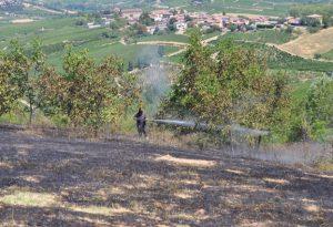 Campo in fiamme a Sala Mandelli. Intervengono i vigili del fuoco