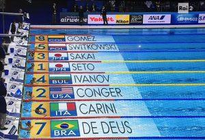 Eliminato in semifinale nei 200 farfalla Giacomo Carini