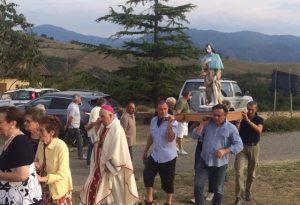 Monsignor Corbellini celebra la messa di S.Rocco a Scarniago