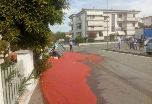 """Asfalto """"al sugo"""" in via Pantaleoni, camion perde passata in strada"""