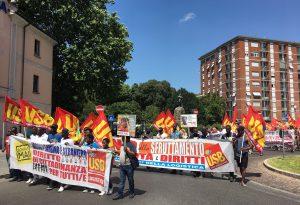 Logistica, corteo Usb in centro per i diritti dei lavoratori