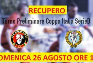 Coppa Italia: Ambrosiana-Vigor Carpaneto si recupera il 26 agosto