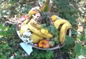 Cesto di frutta, fiori e candele. Misterioso ritrovamento