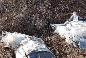Fusti di plastica pieni di oli esausti e mobili abbandonati lungo il torrente Arda