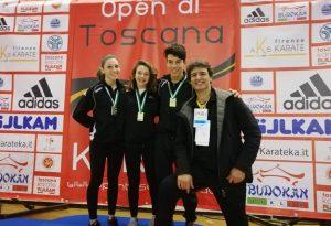 Karate Farnesiana pigliatutto: due ori e tre bronzi agli Open di Toscana