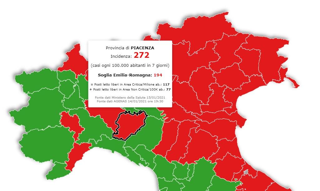 Cartina Italia Javascript.Zone Rosse Su Base Provinciale Piacenza Sarebbe In Lockdown Guarda La Mappa Liberta Piacenza
